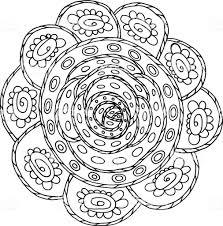 Doodle Mandala Kleurplaten Pagina Voor Volwassenen Cartoon