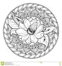 флористическая тема орнамент цветка Doodle лета круга нарисованная