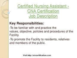 Duties And Responsibilities Of A Cna Certified Nursing Assistant Job Description