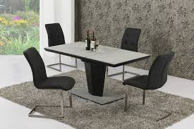 small extendable grey stone effect glass dining table 6 chairs set