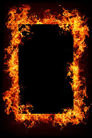 fire frame with dark center for text