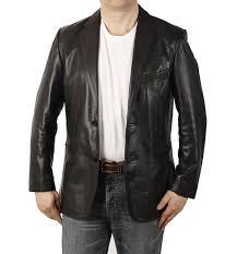 semi fitted mens black leather blazer sl1003b