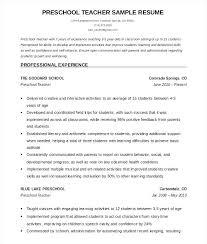 Preschool Teacher Resume Sample Free For Computer Doc Mmventures Co