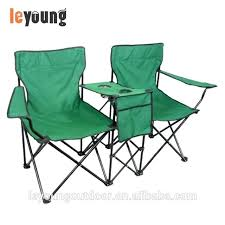 double camp chair steel frame style with table cup holder fold out camping
