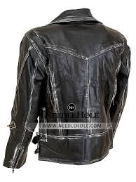 an extremely flattering fit luxury leather military distressed jacket for men with belted hem and zippered