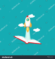 open book with rocket ship flying out isolated on blue background vector flat ilration reading and learning power logo imagination inspiration
