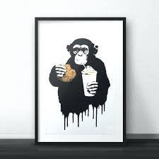 banksy monkey self gifting for pop decoration fast food canvas wall art headphones on wall art pictures of food with banksy monkey self gifting for pop decoration fast food canvas wall