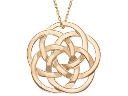 18k yellow gold over silver celtic knot pendant 18 inch bsw993 jtv com