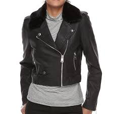 details about levi s asymmetrical faux leather moto jacket with sherpa collar black medium