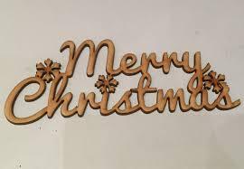 wooden merry topper lettering wording 18cm x 7cm