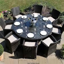 milan baby rattan outdoor garden furniture 8 seater brown round dining table set