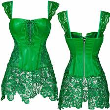 women steampunk faux leather corset bustier top fancy dress plus size 6 6 of 7