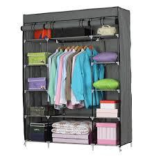 ktaxon portable closet wardrobe clothes rack storage organizer with shelf gray storage com