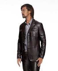 mens stylish leather blazer with patch pockets