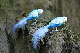Clip Vogel Papagei Wellensittich Christbaumschmuck Mit Federn Blau Weiss 2er Set Condecoro Wohnideen U Geschenkideen