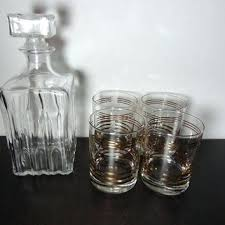 glass liquor decanters vintage clear cut pressed decanter and gold striped low ball rocks glasses with glass liquor decanters cut scotch decanter