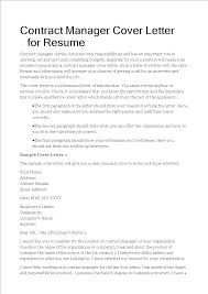 Do You Need An Address On A Cover Letter Contract Manager Cover Letter For Resume Templates At