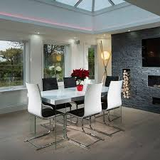 enchanting white gloss dining table with multi coloured chairs gloss dining table black white high gloss