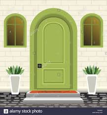 House Entrance Wall Design House Door Front With Doorstep And Steps Mat Flowers In