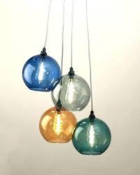 colored glass chandelier 6 lights aquamarine color multi blown murano cha