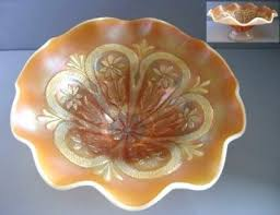 carnival glass pedestal bowl peach opalescent flowers frames compote with lid