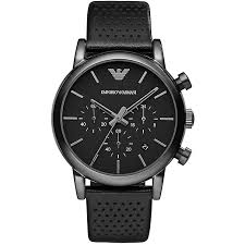 armani watches emporio armani designer watches ernest jones emporio armani men s ion plated black strap watch product number 2963159