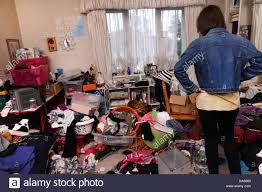 Messy Teenage Bedrooms Teenage Girl In Messy Bedroom Stock Photo Royalty Free Image