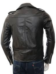 men s black leather biker jacket ss back