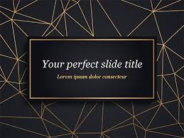 Pptx Themes Black Background With Golden Triangular Grid And Frame