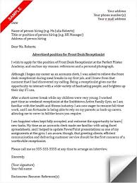 Cover Letter Examples Receptionist Receptionist Cover Letter Sample Cover Letter Sample Cover