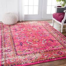 237 99 5x7 nuloom traditional vintage fl distressed pink rug 5u00273 x gukrsym