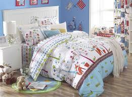 fox birds woodland bedding girls kids 5 pieces bed set 100 cotton standard us size