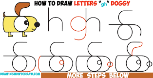 dogs drawings step by step. Unique Dogs How To Draw A Cartoon Dog From Letters  In Dogs Drawings Step By P