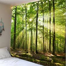 forest sunlight decorative wall hanging tapestry green w79 inch l59 inch