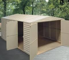 double door vinyl shed