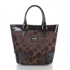 Coach Logo In Monogram Medium Coffee Totes FDQ