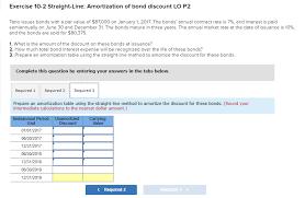 Amortization Bonds Solved Exercise 10 2 Straight Line Amortization Of Bond