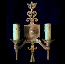 ... Gorgeous Wall Lighting Decoration Using Large Wall Candle Sconces :  Fabulous Vintage Brown Wrought Iron Large ...