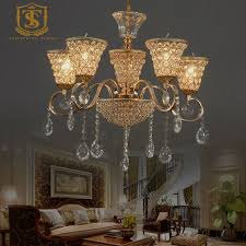 europe style luxury golden crystal chandeliers lights restaurant