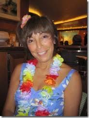 MauiShirts Blog » Irma Kane wearing a Periwinkle Star Orchid Sarong Dress