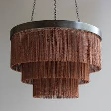 410mm dia shallow copper chain chandelier with bronze