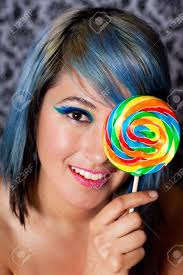 beautiful woman with exotic makeup and pink candy lips stock photo 14313195