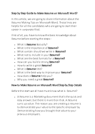 Doc Step By Step Guide To Make Resume On Microsoft Word