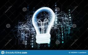 Binary Light Bulbs Innovative Light Bulb In Virtual Cyberspace Network With