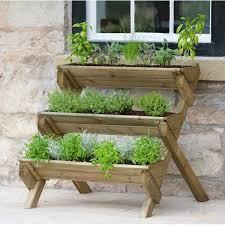 stepped herb wooden vertical garden