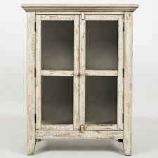 rustic ss scrimshaw 32 accent cabinet in distressed cream w glass doors