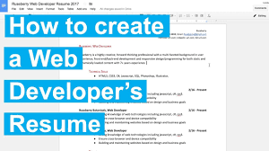 How To Create A Web Developer S Resume Youtube