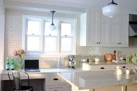 interior off white subway tile kitchen traditional with desk glass canisters delightful local 11