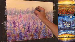 free oil painting lesson in real time how to paint glade of gentle flowers
