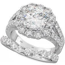 Cushion Cut Cz Halo 925 Silver Wedding Engagement Bridal Ring Set